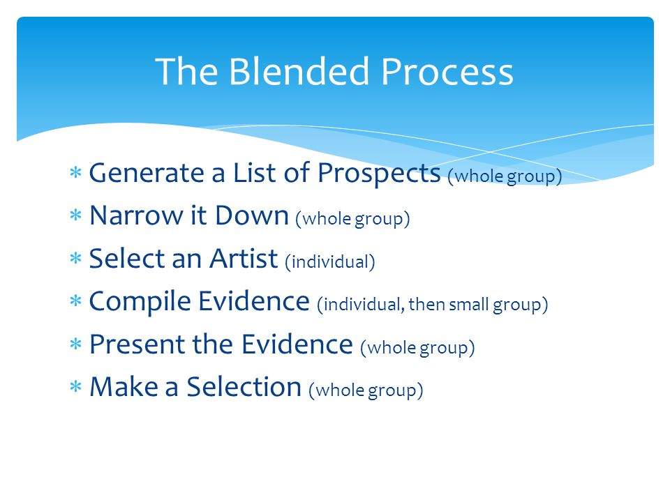 Generate a List of Prospects (whole group) Narrow it Down (whole group) Select an Artist (individual) Compile Evidence (individual, then small group) Present the Evidence (whole group) Make a Selection (whole group) The Blended Process
