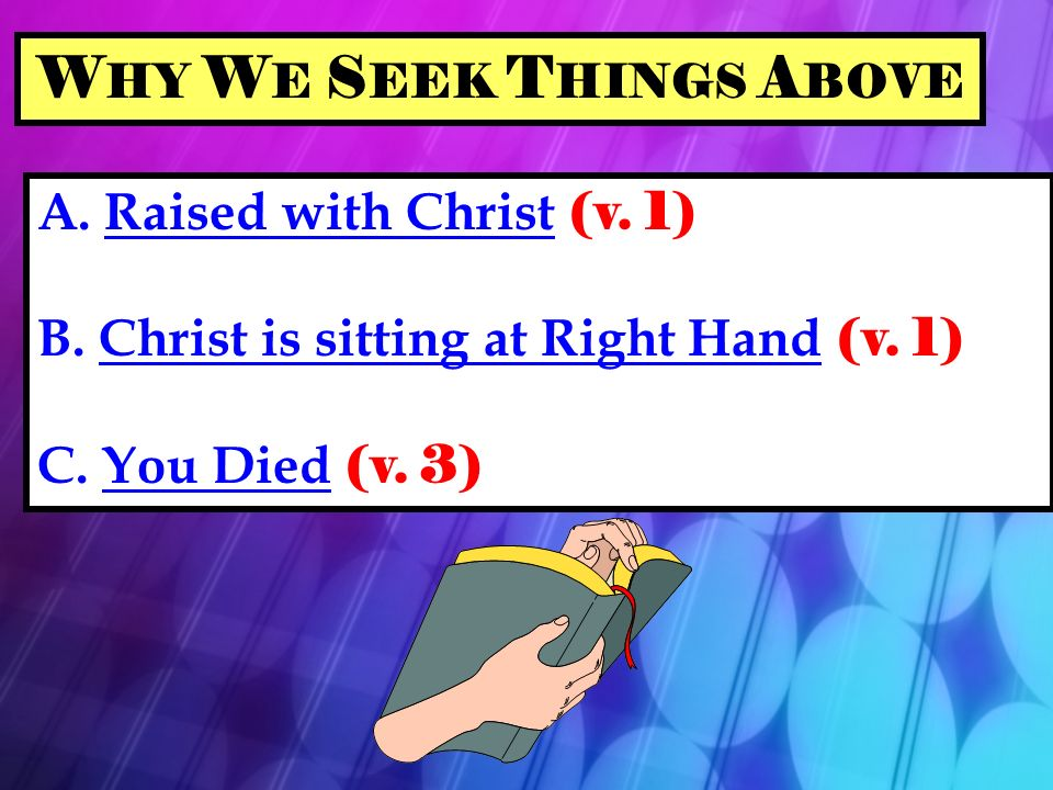 A. Raised with Christ (v. 1) B. Christ is sitting at Right Hand (v.