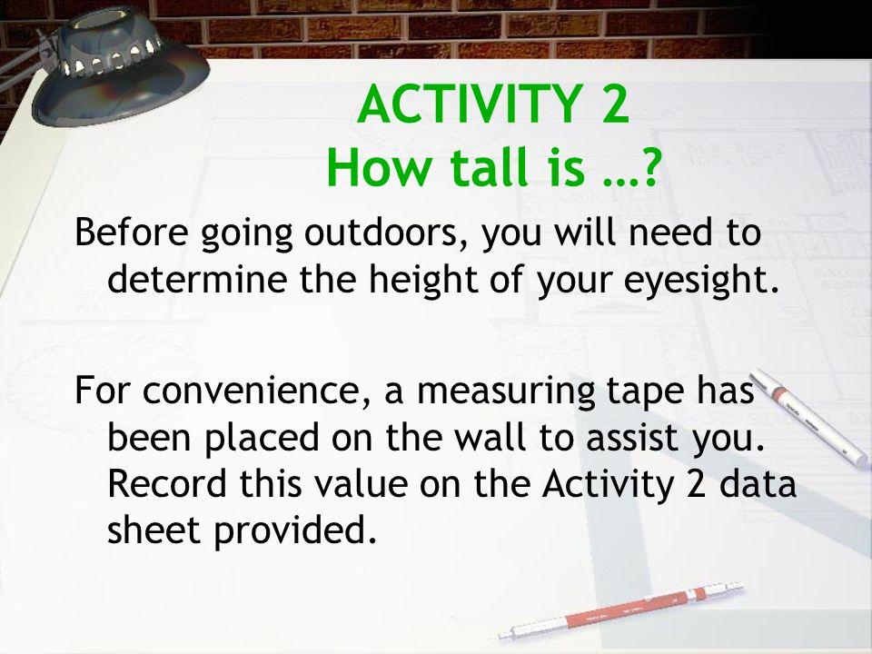 ACTIVITY 2 How tall is ….