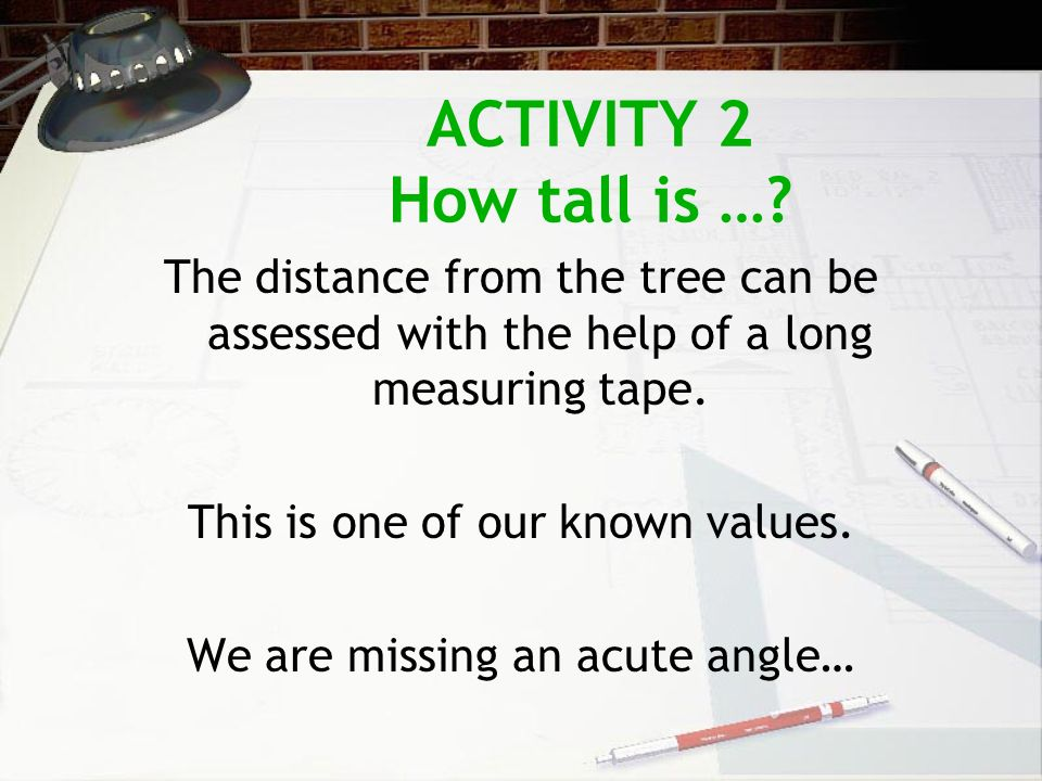 ACTIVITY 2 How tall is …? The distance from the tree can be assessed with the help of a long measuring tape. This is one of our known values. We are m