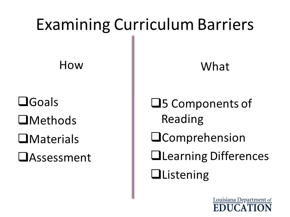 Examining Curriculum Barriers How Goals Methods Materials Assessment What 5 Components of Reading Comprehension Learning Differences Listening