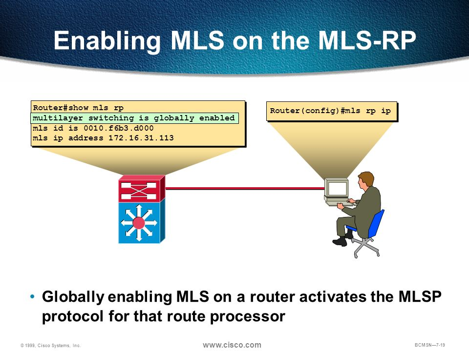 © 1999, Cisco Systems, Inc. www.cisco.com BCMSN7-19 Enabling MLS on the MLS-RP Router(config)#mls rp ip Router#show mls rp multilayer switching is glo