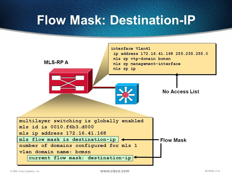 © 1999, Cisco Systems, Inc. www.cisco.com BCMSN7-31 Flow Mask: Destination-IP MLS-RP A No Access List interface Vlan41 ip address 172.16.41.168 255.25