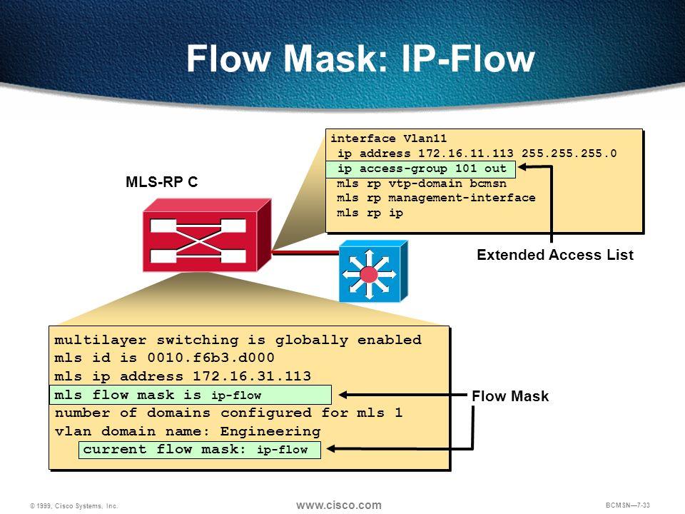 © 1999, Cisco Systems, Inc. www.cisco.com BCMSN7-33 Extended Access List Flow Mask MLS-RP C Flow Mask: IP-Flow interface Vlan11 ip address 172.16.11.1