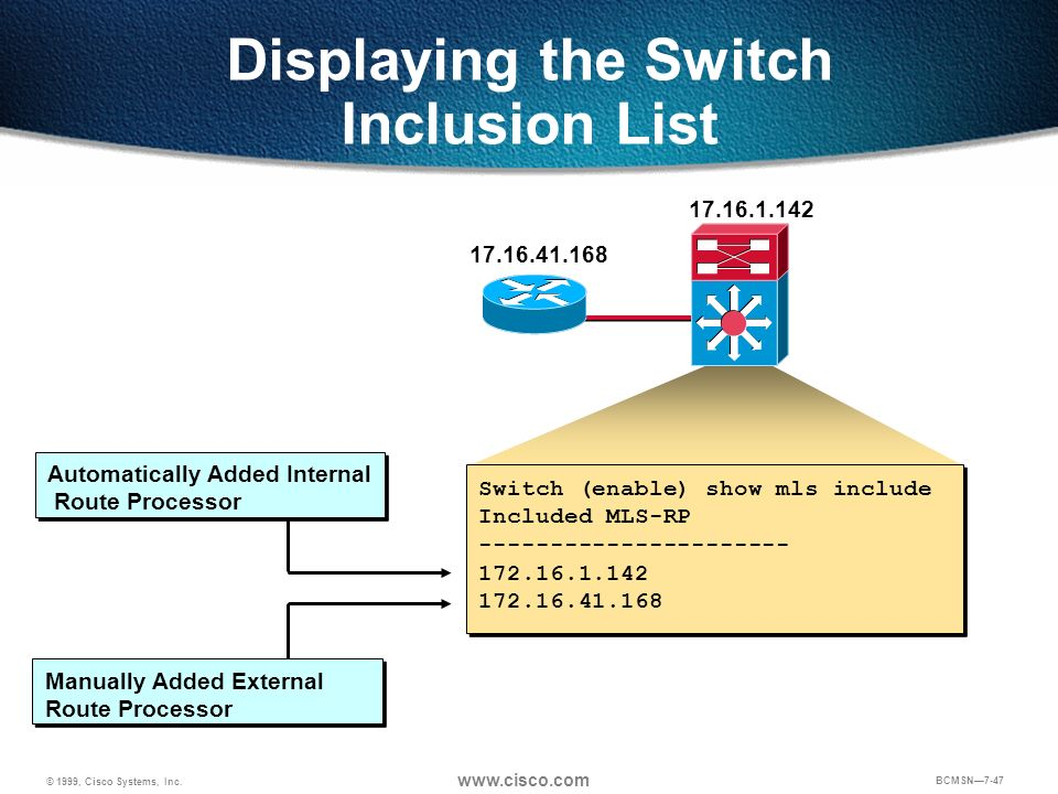 © 1999, Cisco Systems, Inc. www.cisco.com BCMSN7-47 Displaying the Switch Inclusion List 17.16.1.142 17.16.41.168 Switch (enable) show mls include Inc