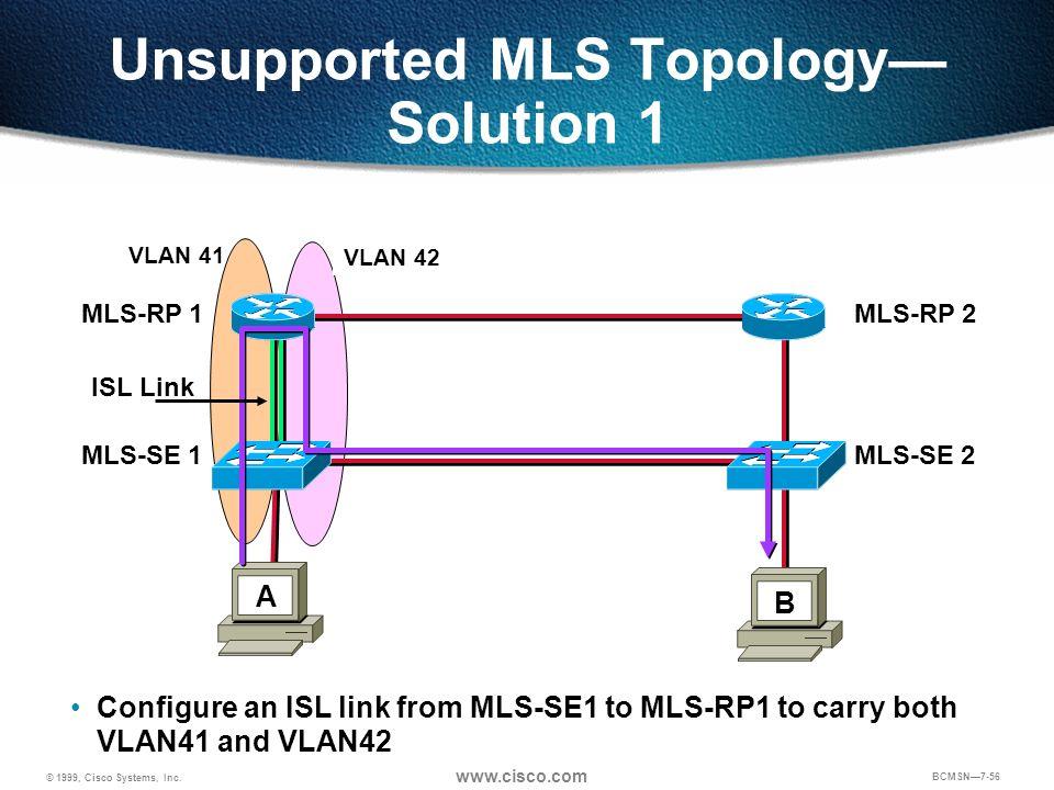 © 1999, Cisco Systems, Inc. www.cisco.com BCMSN7-56 Unsupported MLS Topology Solution 1 BA VLAN 41 VLAN 42 ISL Link Configure an ISL link from MLS-SE1