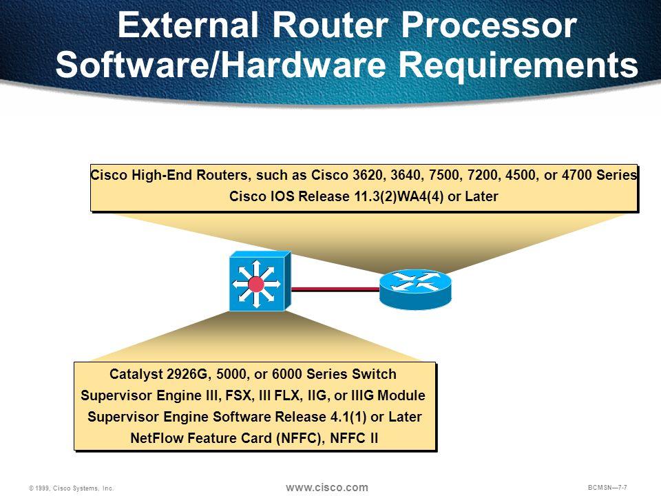 © 1999, Cisco Systems, Inc. www.cisco.com BCMSN7-7 Catalyst 2926G, 5000, or 6000 Series Switch Supervisor Engine III, FSX, III FLX, IIG, or IIIG Modul