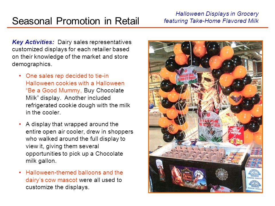 Key Activities: Dairy sales representatives customized displays for each retailer based on their knowledge of the market and store demographics.