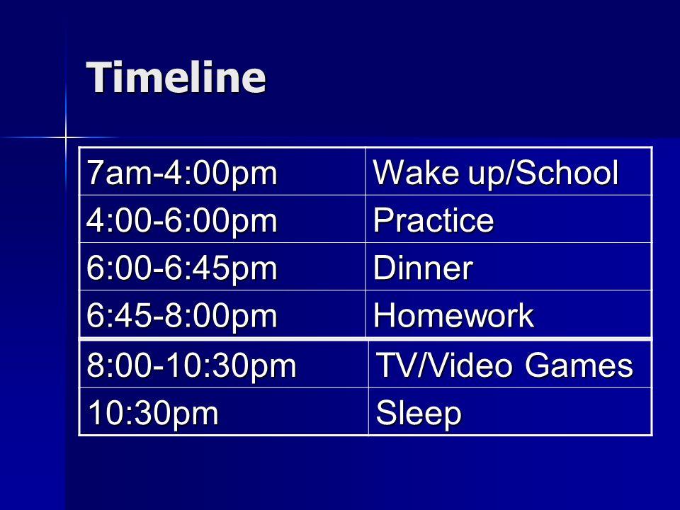 Timeline 7am-4:00pm Wake up/School 4:00-6:00pmPractice 6:00-6:45pmDinner 6:45-8:00pmHomework 8:00-10:30pm TV/Video Games 10:30pmSleep
