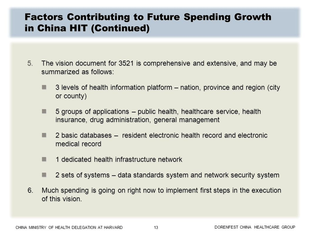 CHINA MINISTRY OF HEALTH DELEGATION AT HARVARD DORENFEST CHINA HEALTHCARE GROUP 13 Factors Contributing to Future Spending Growth in China HIT (Contin