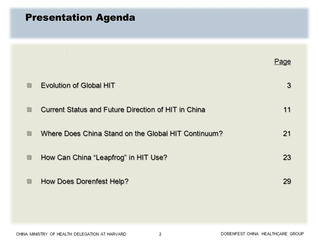 CHINA MINISTRY OF HEALTH DELEGATION AT HARVARD DORENFEST CHINA HEALTHCARE GROUP 2 Presentation Agenda Page Page Evolution of Global HIT3 Evolution of