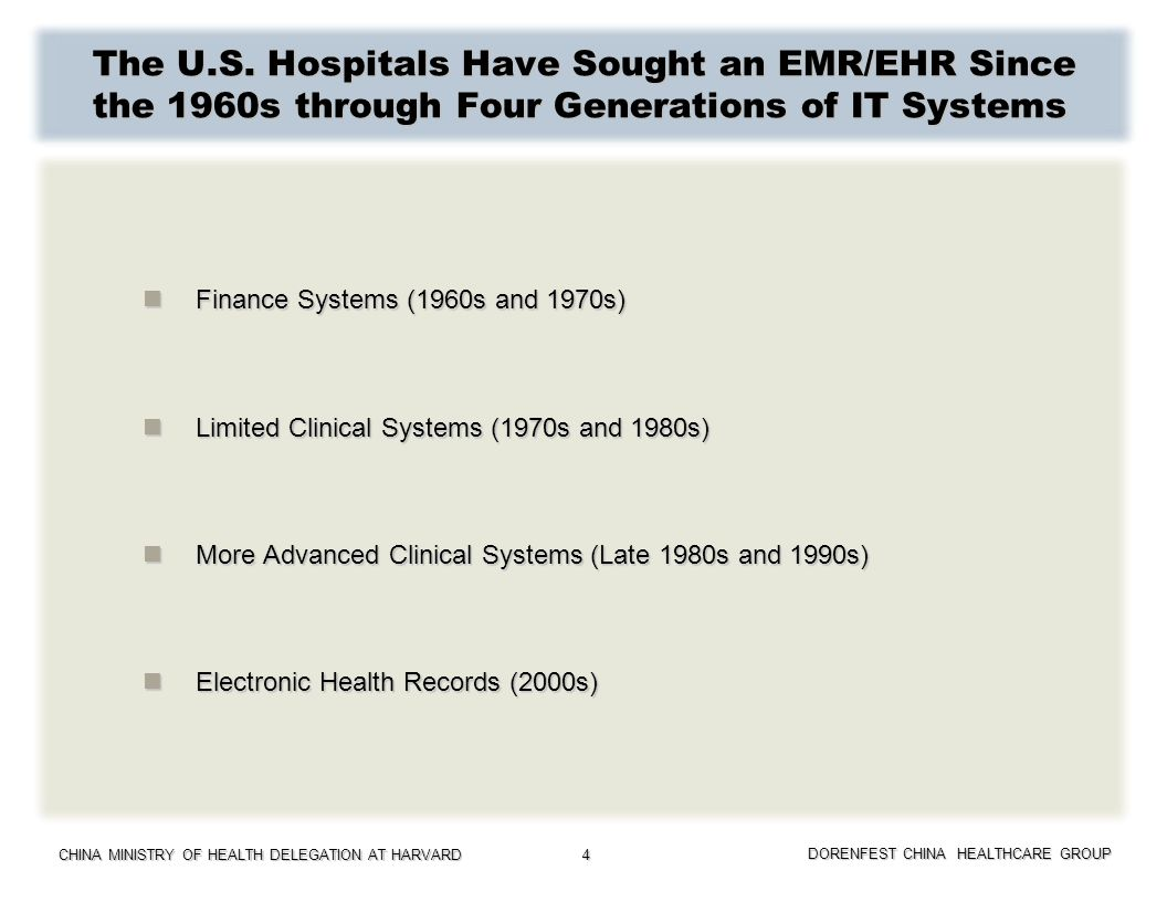 CHINA MINISTRY OF HEALTH DELEGATION AT HARVARD DORENFEST CHINA HEALTHCARE GROUP 4 The U.S. Hospitals Have Sought an EMR/EHR Since the 1960s through Fo