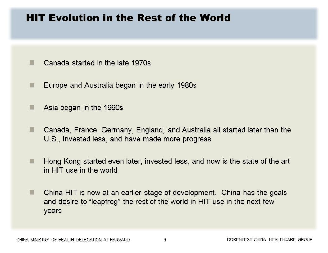 CHINA MINISTRY OF HEALTH DELEGATION AT HARVARD DORENFEST CHINA HEALTHCARE GROUP 9 HIT Evolution in the Rest of the World Canada started in the late 19