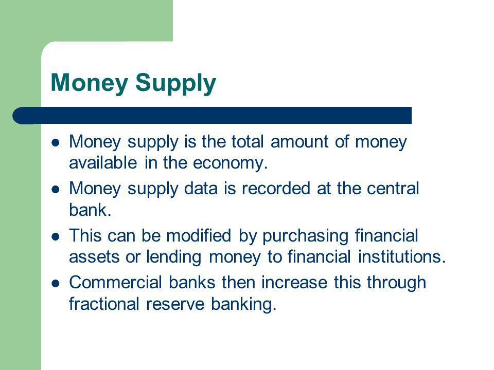 Money Supply Money supply is the total amount of money available in the economy.