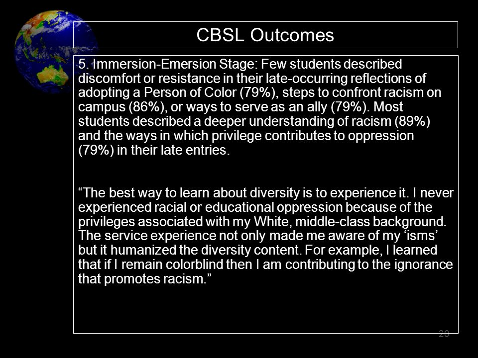 20 CBSL Outcomes 5. Immersion-Emersion Stage: Few students described discomfort or resistance in their late-occurring reflections of adopting a Person