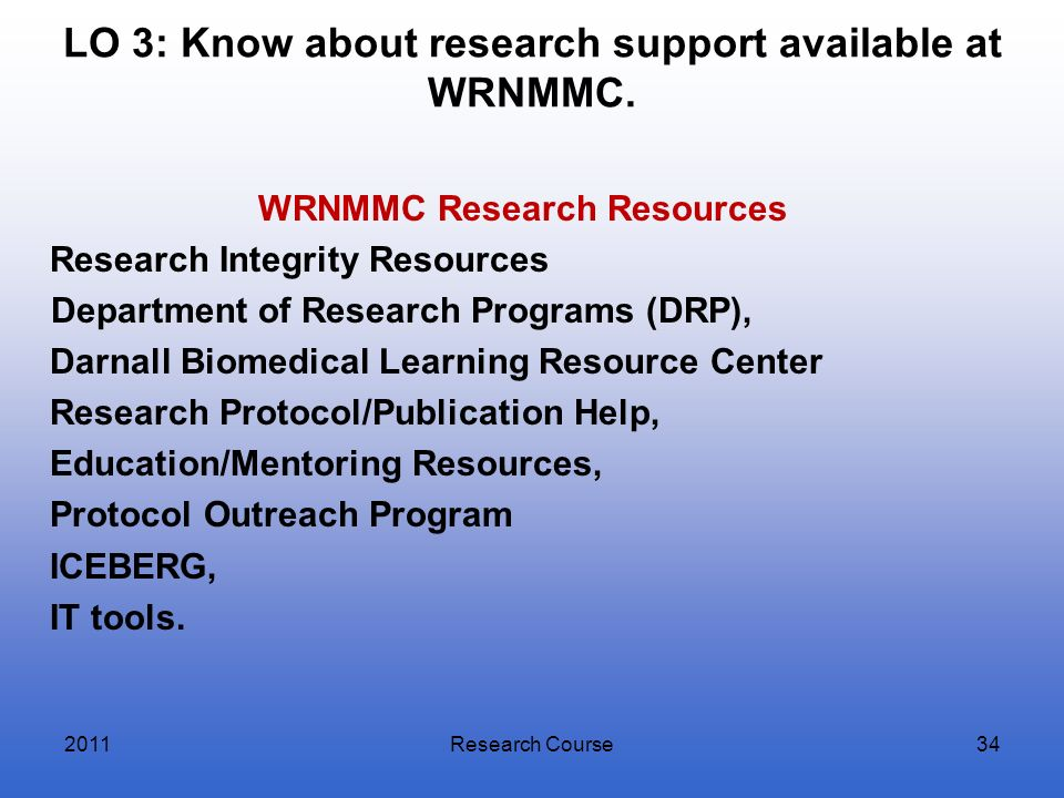 LO 3: Know about research support available at WRNMMC. WRNMMC Research Resources Research Integrity Resources Department of Research Programs (DRP), D