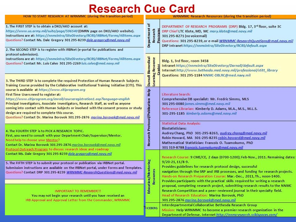 5 Research Cue Card 2011Research Course