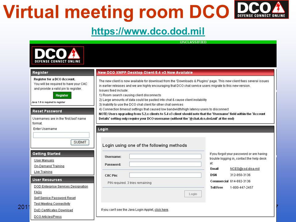 Research Course57Research Course57 Virtual meeting room DCO https://www.dco.dod.mil 2011