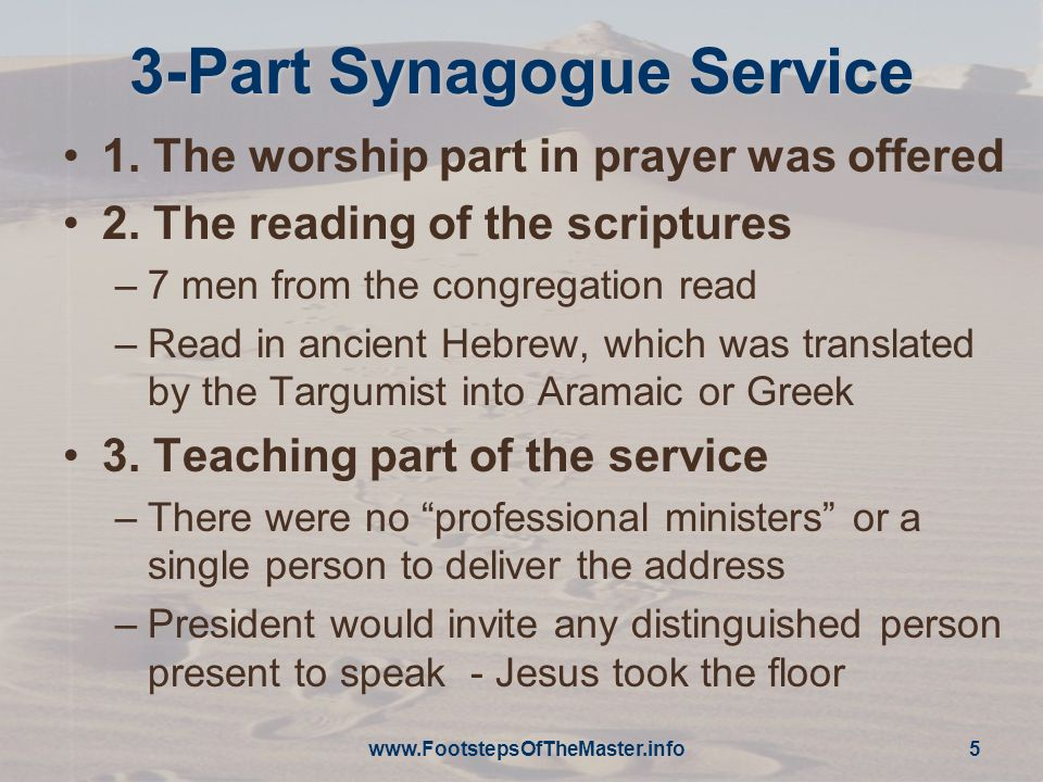www.FootstepsOfTheMaster.info 6 First Sermon Luke 4:16-19 –And he came to Nazareth, where he had been brought up.