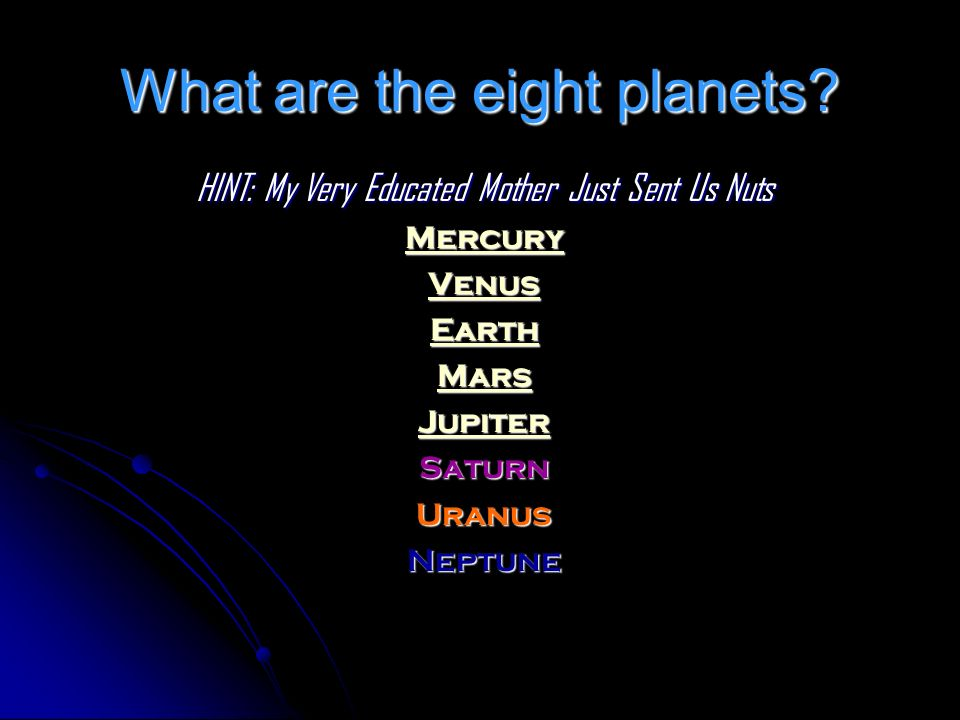 What are the eight planets? HINT: My Very Educated Mother Just Sent Us Nuts Mercury Venus Earth Mars Jupiter SaturnUranusNeptune