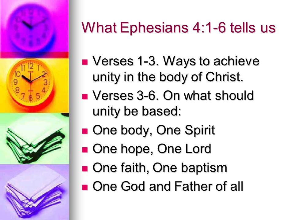 What Ephesians 4:1-6 tells us Verses 1-3.Ways to achieve unity in the body of Christ.
