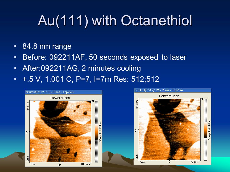 Au(111) with Octanethiol 84.8 nm range Before: 092211AF, 50 seconds exposed to laser After:092211AG, 2 minutes cooling +.5 V, 1.001 C, P=7, I=7m Res: 512;512
