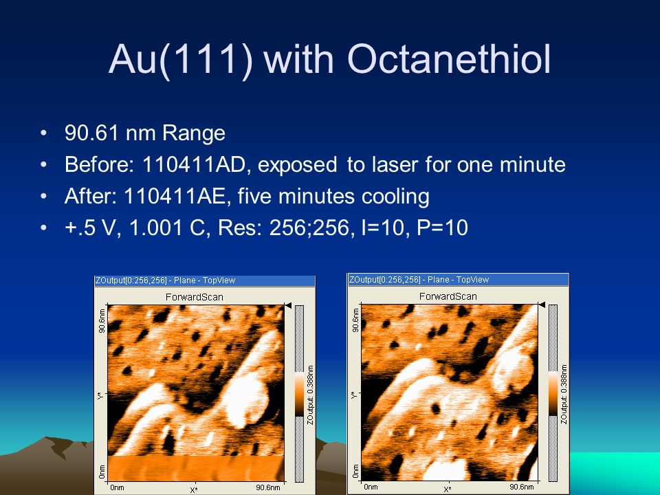 Au(111) with Octanethiol 90.61 nm Range Before: 110411AD, exposed to laser for one minute After: 110411AE, five minutes cooling +.5 V, 1.001 C, Res: 256;256, I=10, P=10