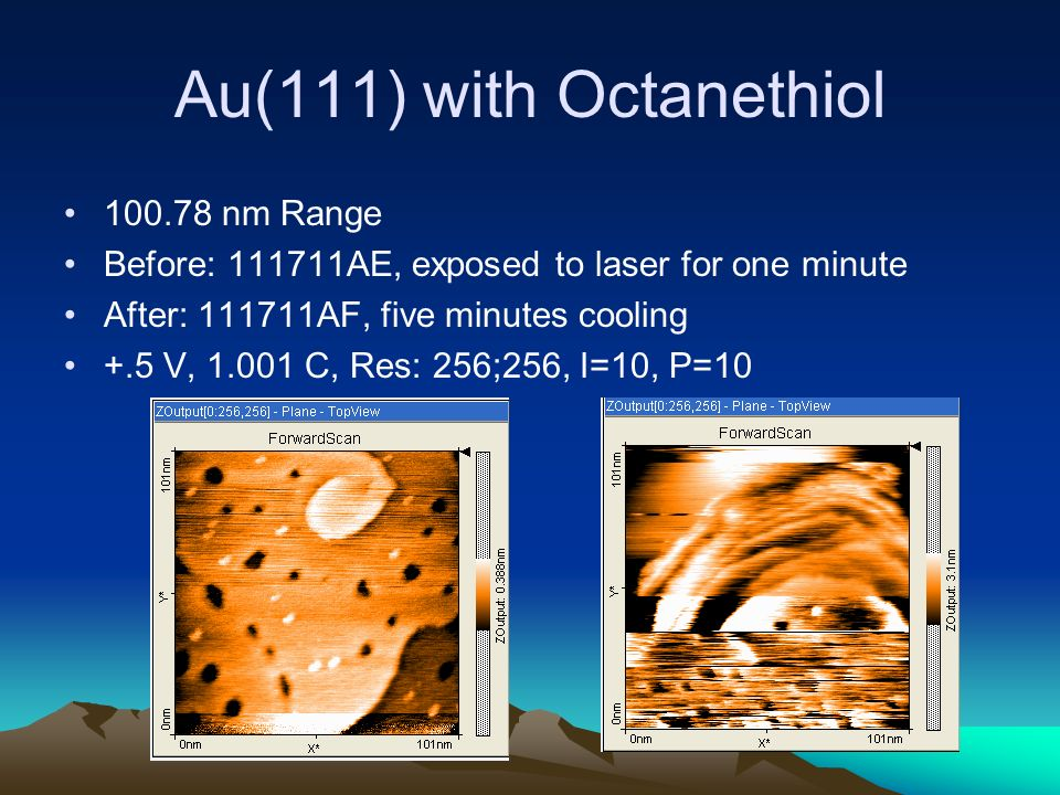 Au(111) with Octanethiol nm Range Before: AE, exposed to laser for one minute After: AF, five minutes cooling +.5 V, C, Res: 256;256, I=10, P=10