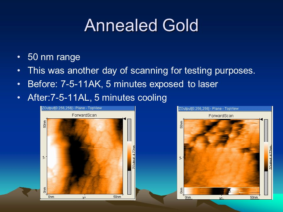 Annealed Gold 50 nm range This was another day of scanning for testing purposes.