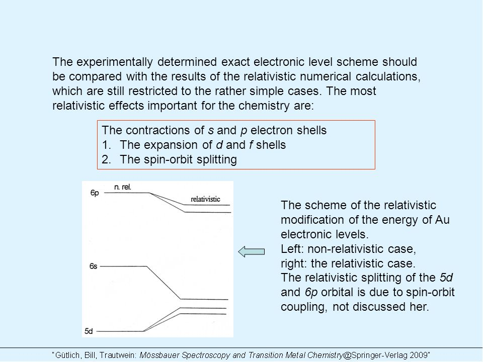 The experimentally determined exact electronic level scheme should be compared with the results of the relativistic numerical calculations, which are still restricted to the rather simple cases.