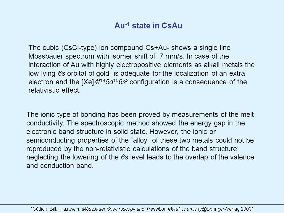 Au -1 state in CsAu The cubic (CsCl-type) ion compound Cs+Au- shows a single line Mössbauer spectrum with isomer shift of 7 mm/s.