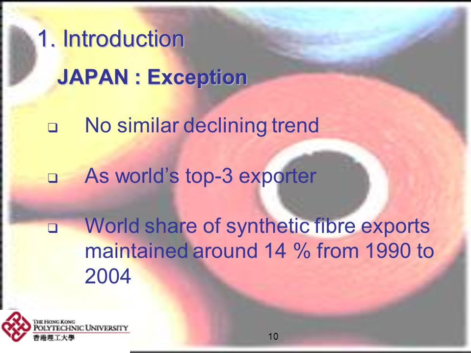 10 1. Introduction JAPAN : Exception JAPAN : Exception No similar declining trend As worlds top-3 exporter World share of synthetic fibre exports main