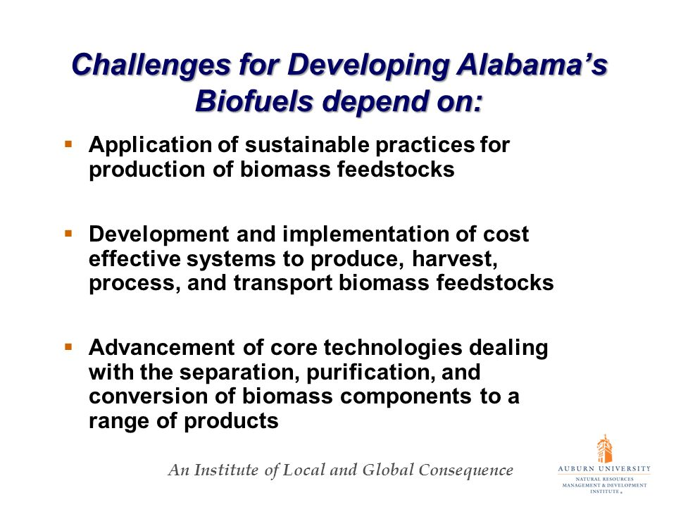 An Institute of Local and Global Consequence Challenges for Developing Alabamas Biofuels depend on: Application of sustainable practices for production of biomass feedstocks Development and implementation of cost effective systems to produce, harvest, process, and transport biomass feedstocks Advancement of core technologies dealing with the separation, purification, and conversion of biomass components to a range of products