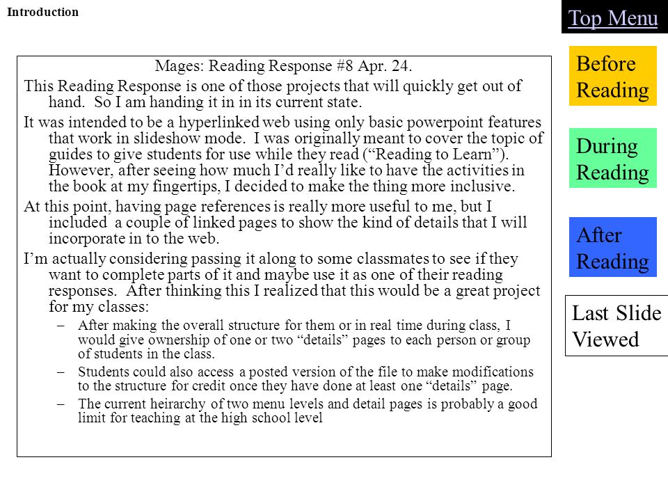 Last Slide Viewed Top Menu Before Reading During Reading After Reading Introduction Mages: Reading Response #8 Apr.