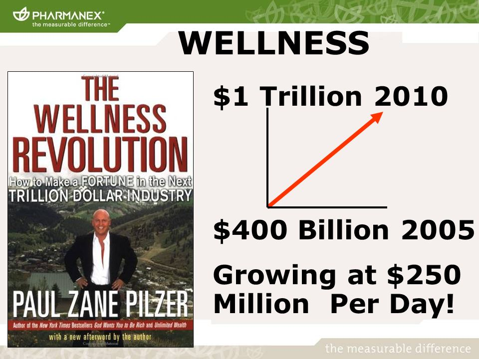 $1 Trillion 2010 $400 Billion 2005 Growing at $250 Million Per Day! WELLNESS