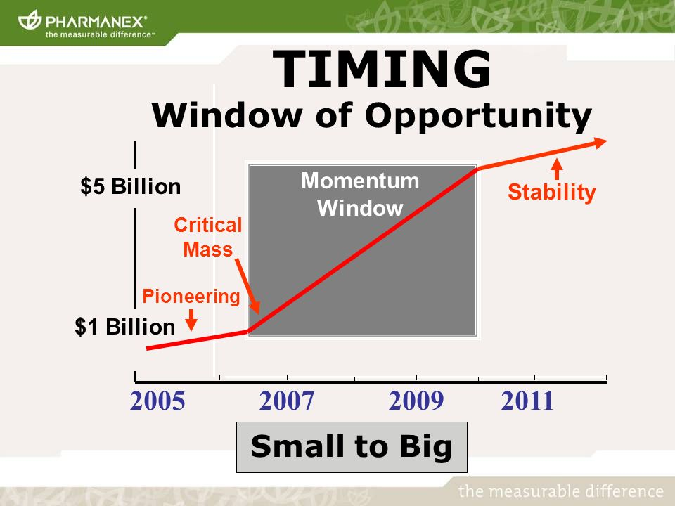 TIMING $1 Billion $5 Billion Window of Opportunity 2011 Small to Big Momentum Window Stability Critical Mass Pioneering