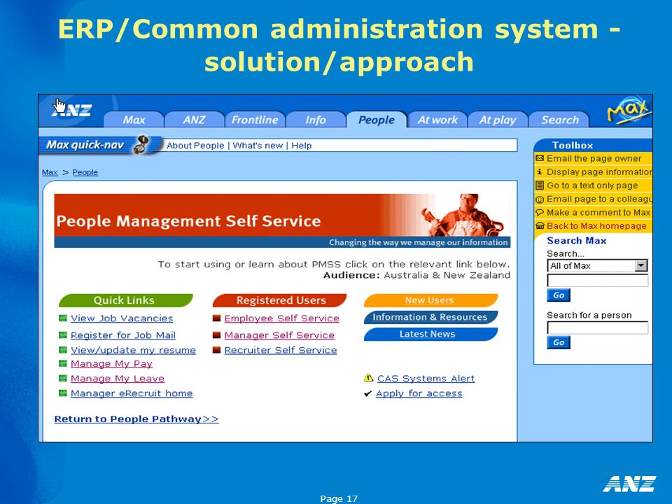 Page 17 ERP/Common administration system - solution/approach
