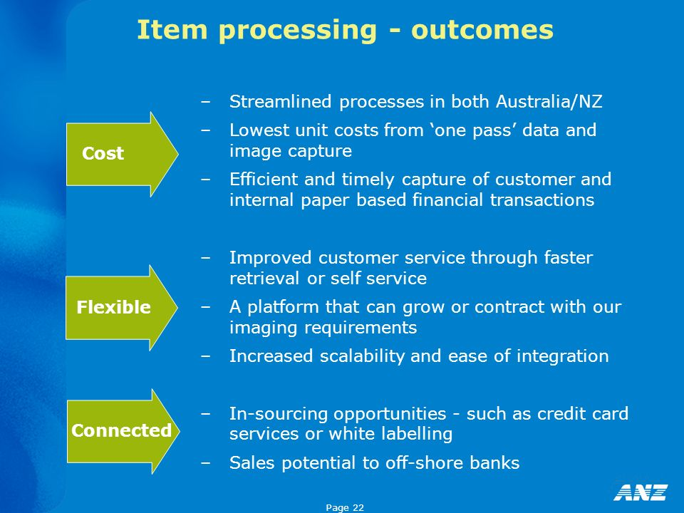 Page 22 Item processing - outcomes –Streamlined processes in both Australia/NZ –Lowest unit costs from one pass data and image capture –Efficient and