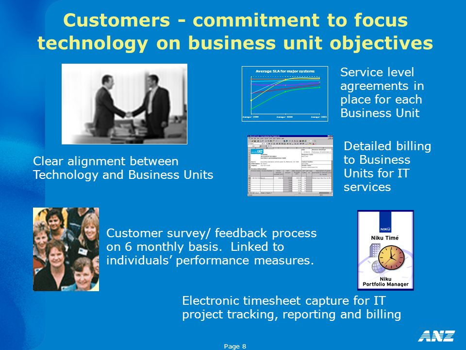Page 8 Customers - commitment to focus technology on business unit objectives Electronic timesheet capture for IT project tracking, reporting and bill