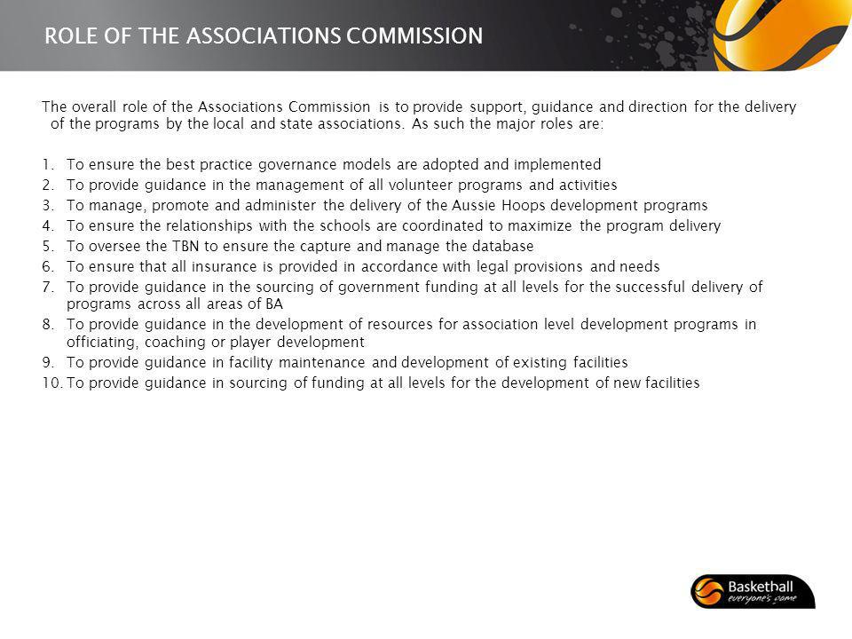 ROLE OF THE ASSOCIATIONS COMMISSION The overall role of the Associations Commission is to provide support, guidance and direction for the delivery of the programs by the local and state associations.