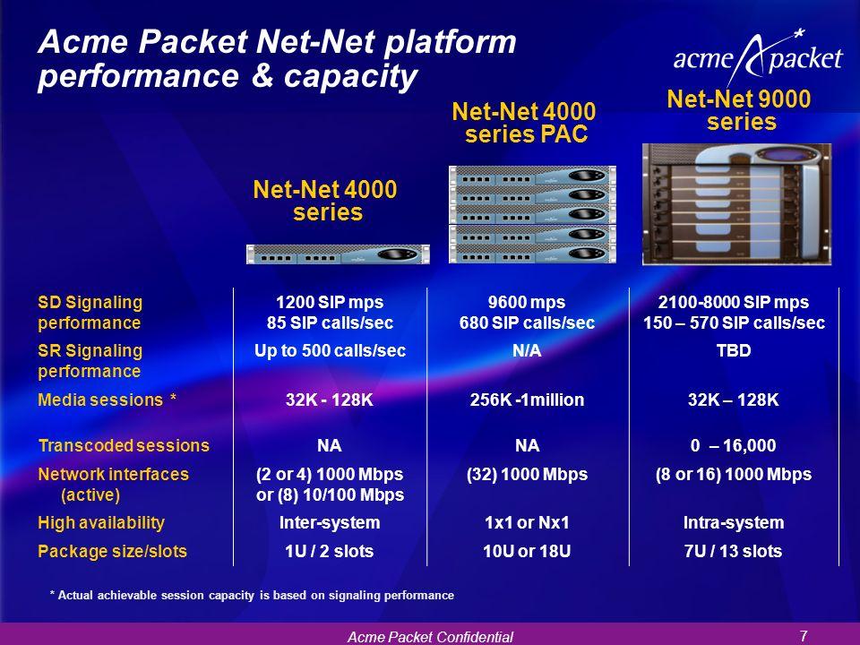 Acme Packet Confidential 7 Net-Net 4000 series Acme Packet Net-Net platform performance & capacity Net-Net 9000 series SD Signaling performance 1200 S