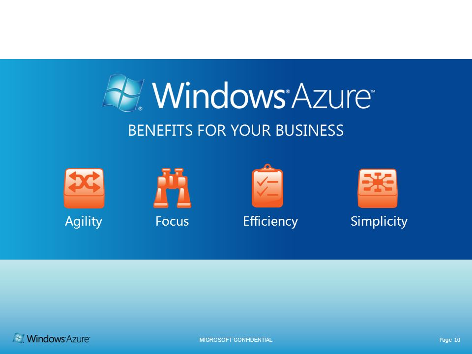 MICROSOFT CONFIDENTIAL Page 10 BENEFITS FOR YOUR BUSINESS Agility Focus Efficiency Simplicity