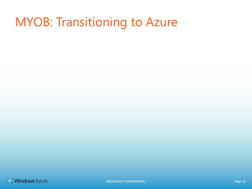 MICROSOFT CONFIDENTIAL Page 12 MYOB: Transitioning to Azure