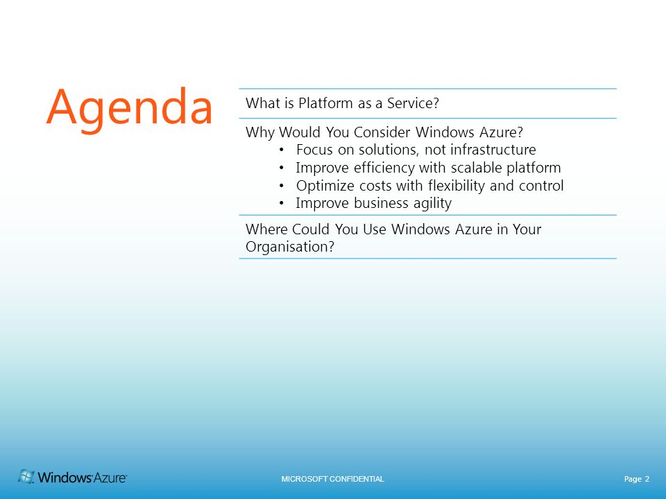 MICROSOFT CONFIDENTIAL Page 2 Agenda What is Platform as a Service? Why Would You Consider Windows Azure? Focus on solutions, not infrastructure Impro
