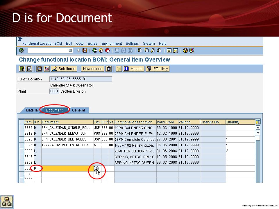 Mastering SAP Plant Maintenance2009 D is for Document
