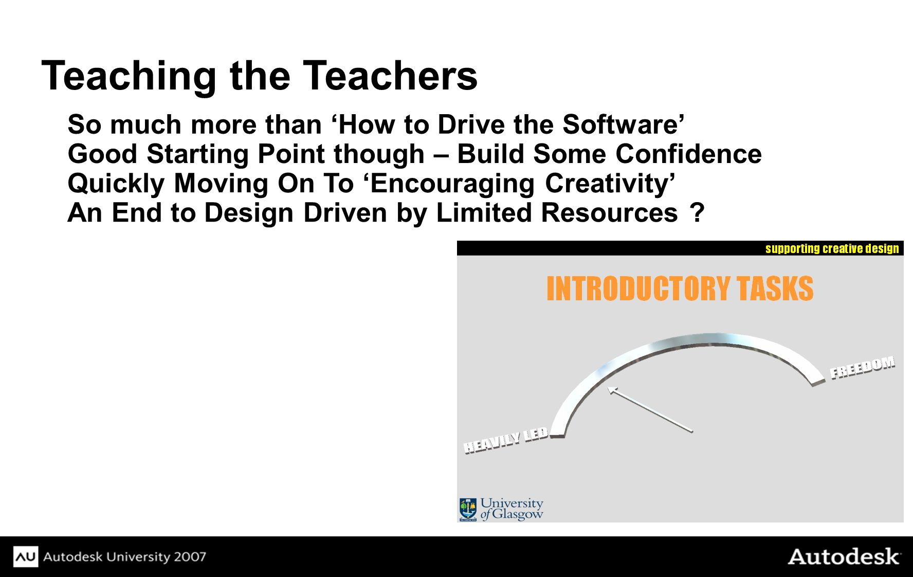 Teaching the Teachers So much more than How to Drive the Software Good Starting Point though – Build Some Confidence Quickly Moving On To Encouraging Creativity An End to Design Driven by Limited Resources ?