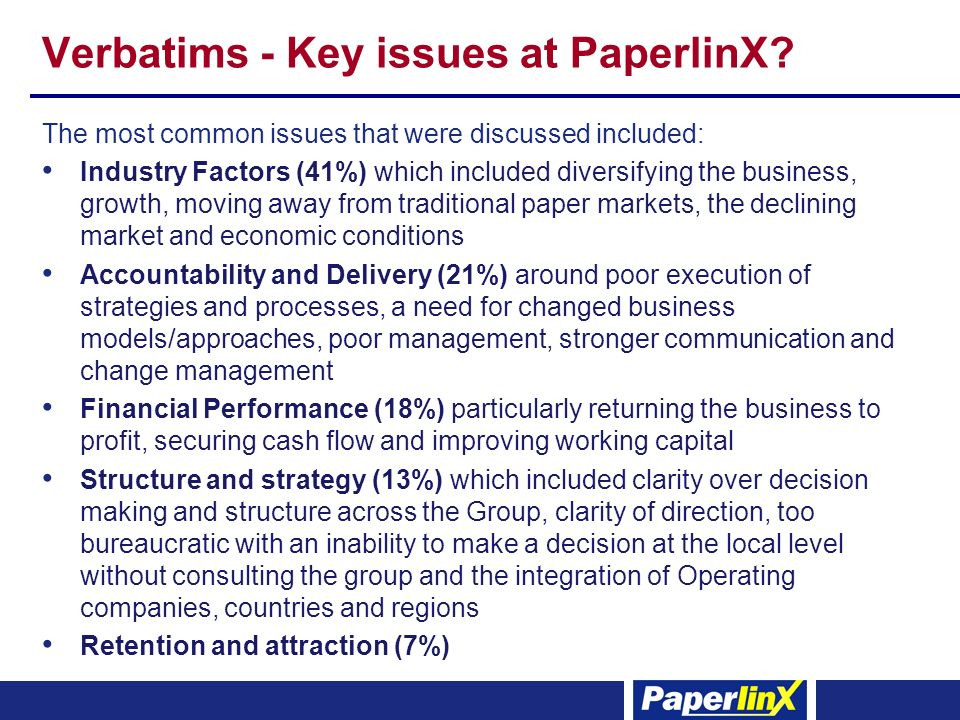 Verbatims - Key issues at PaperlinX? The most common issues that were discussed included: Industry Factors (41%) which included diversifying the busin