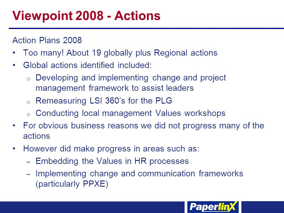 Viewpoint 2008 - Actions Action Plans 2008 Too many.