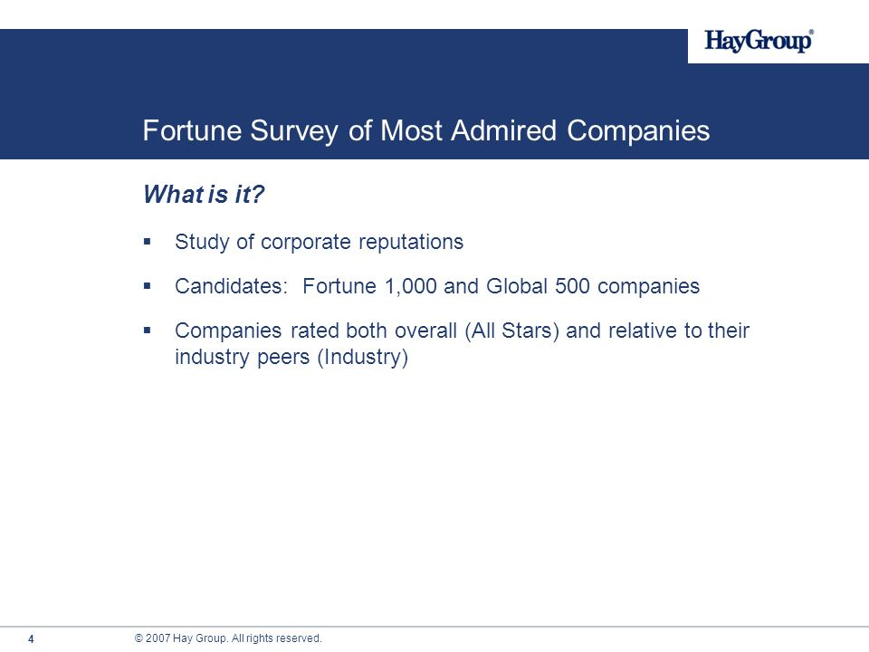 © 2007 Hay Group. All rights reserved. The Worlds Most Admired Companies 2007 Denise Girdlestone, Senior Consultant, Hay Group