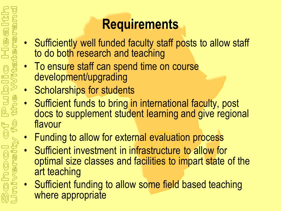 Requirements Sufficiently well funded faculty staff posts to allow staff to do both research and teaching To ensure staff can spend time on course dev